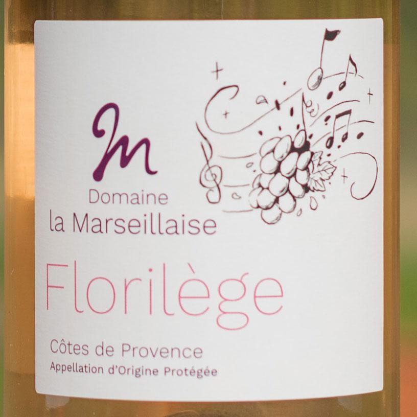 Etiquette vin rosé AOP Florilège